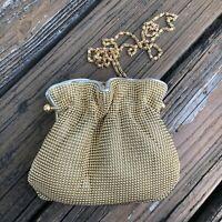 Vintage Gold Mesh Ball Purse Handbag Evening Bag Clutch 50s 60s Gold Chain