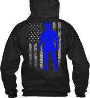 Police Officer Thin Blue Line Flag Amz Gildan Hoodie Sweatshirt