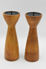 More details for 2x pair of vintage mid century turned solid wood 28cm candle stick holders