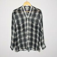 Vince Women's Gray Shadow Plaid Silk Button Down Top Size XS