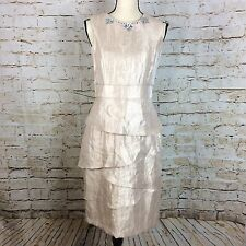 London Times Pink SZ 8 Tiered Ruffle Sleeveless Sheath Fitted Shimmer Dress
