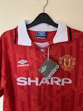 More details for retro manchester united 1993 shirt size xl with cantona named