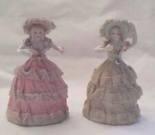 Pair Vintage Victorian Southern Belle Figurines Hats Lace Dress JAPAN Pink Green