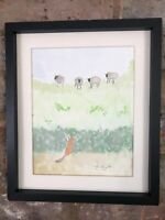 Little Fox Watching Sheep, Original Signed Watercolour, Vintage, Cottage, Gift
