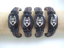 Men's Genuine Leather Tribal Wolf Totem Surfer Bracelet Bangle Wristband Cuff
