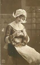 Pretty Young Gril Switzerland 1914 Black and White RPPC Postcard