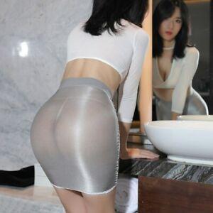 Women Mini Skirts Shiny Glossy Elastic Transparent Pencil Skirt Night Club Wear