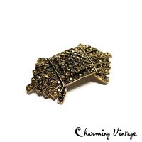 Vintage Antique Gold Tone Rhinestone Deco Style Pin Brooch