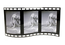 """Film Style Free Standing Black Curved Glass Three 4"""" x 6"""" Picture Photo Frame"""