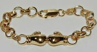 9ct Yellow Gold on Silver Kid's / Boy's Boxing Glove Belcher Bracelet - 6 inch
