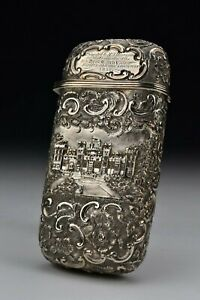 Nathanial Mills English Sterling Silver Repousse Cigar Case 19th Century