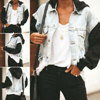 Womens Ripped Denim Jacket Hooded Crop Top Buttons Casual Coat Outwear Plus Size