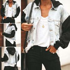 Damen Ripped Denim Jacke mit Kapuze Crop Top Knöpfe lässig Mantel Outwear Plus Size