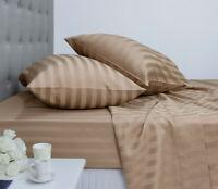 Ardor 1000 Thread Count Cotton Rich Jacquard Stripe Sheet Set Queen TAUPE new