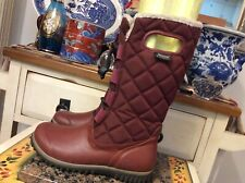 Womens BOGS JUNO tall Burgundy Red  quilted pull on waterproof boots 6 M ,EUC