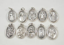 Religious Saints Pray For Us Medals Assorted LOT 10 Medals Silver Plated #2467