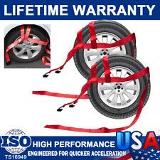 2Pcs Car Basket Straps Twisted Adjustable Tow Dolly Wheel Net Set Flat Hooks Red