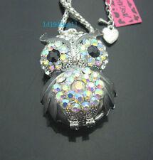 H556B?   Betsey Johnson  Crystal  AB  Enamel Cute Owl Pendant Long Necklace