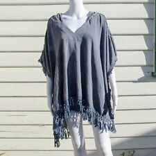Free People Stripes Out Knit Poncho Blue with Hooded Neck Medium/Large OB553229