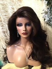 BEAUTIFUL, Wavy, Dark Brown W Red Highlights Lace Front HUMAN HAIR BLEND WIG!!