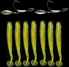 20pcs Soft Fishing Lure Bait with 5pcs Fishing Jig Hooks Worm T Tail Wobblers