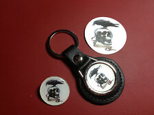THE EXPENDABLES  LEATHER   KEY RING, SILVER PLATED BADGE  + FREE PHONE STICKER