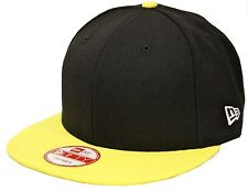 New Era 9Fifty Plain Black Yellow Snapback Embroidery Customizable Adjustable NE