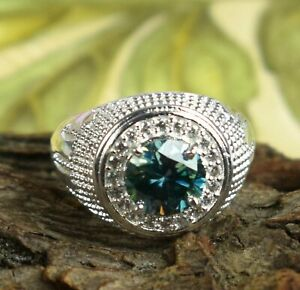 Very Elegant Blue Diamond Solitaire 4.18 Ct Round Cut Men's Ring With Accents
