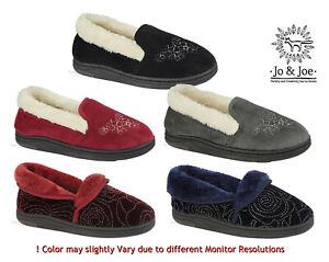 Jo & Joe Ladies Slippers Slip-On Mules with Cozy Warm Lined Fur- Hard Grip Sole