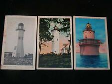 Antique POSTCARDS - LIGHTHOUSES Vineyard Haven, New Bedford, Scituate, MA.