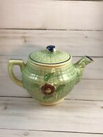 Vintage Small Green Teapot With Blue And Red Flowers