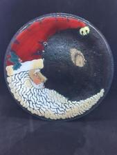 """Peggy Karr Fused Glass Crescent Santa Claus Plate, 11"""", Signed"""