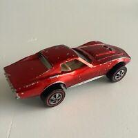 Hot Wheels Redline Custom Corvette Red Error Bubbles in Windshield US Base 1968