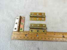 "Antique Matching set of 3 Brass plate door cabinet hinges 1 1/4"" X 2"""