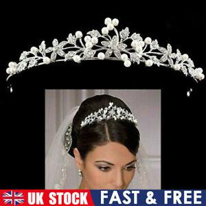 Wedding Bride Flower Prom Party Pearl Crystal Alloy Tiara Hair Band Headband UK