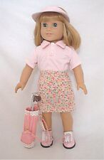 """Doll Clothes Fit AG 18"""" Golf Skirt Pink Shirt Clubs Made For American Girl Dolls"""