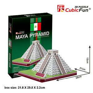New Maya Pyramid Mexico 3D Paper Toy Model Jigsaw Puzzle 48 Pieces C073H