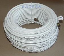 NEW 150 ft white RG6 coaxial coax cable with weatherproof connectors satellite