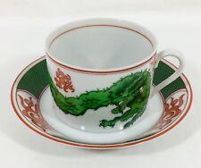 Fitz & Floyd Dragon Crest GREEN Orange Trim Flat CUP & SAUCER Set Vtg 1975 NWT!