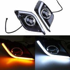 Yellow White Left+Right DRL LED Daytime Running Fog Light Fit For Mazda 3 Axela