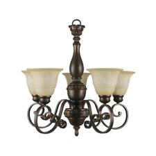 Hampton Bay Carina 5-Light Aged Bronze Chandelier with Tea-Stained Glass Shade