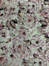 4 Metres Large Pink & Grey Flowers Floral Printed 100% Cotton Poplin Fabric
