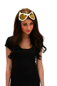SteamPunk Cosplay Cat Eye Style Frame White/Gold Lens Goggles Glasses NEW UNUSED
