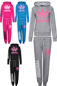 New Womens Ladies Addicted Print Jogging Bottoms Hooded Sweatshirt Track Suit