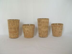 4 NATURAL CORK AND GLASS TAPERED VOTIVES HOLDERS VOTIVE CANDLE HOLDER
