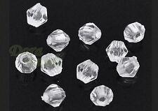 100 piezas faceteadas clara bicone acrílico spacer perlas 4mm x 4mm transparente