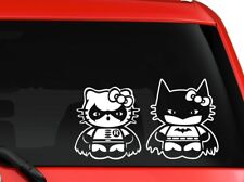 "Hello Kitty Batman And Robin car truck SUV window decal sticker 8"" white"