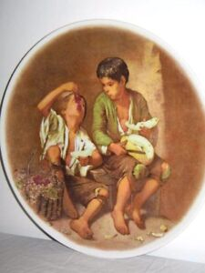 2 Boys Eating Melon & Grapes Old Collector Plate No Makers Mark 24.5cm Wide