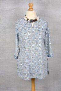 FABINDIA Blue & Grey cotton boho block print tunic top MEDIUM 10/12