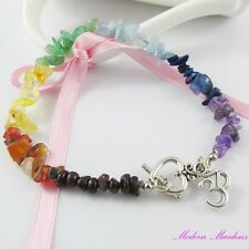 Petite Miss Chakra Gemstone Anklet with Heart Toggle Clasp and Aum Charm 23cm